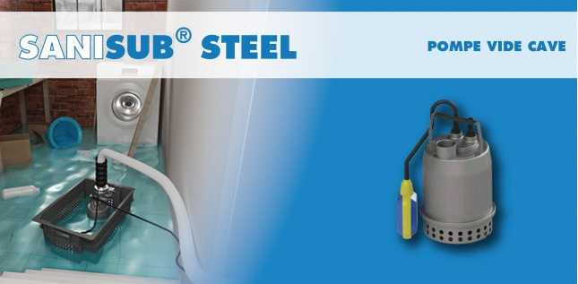 SANISUB STEEL 50A - POMPE VIDE CAVE INOX